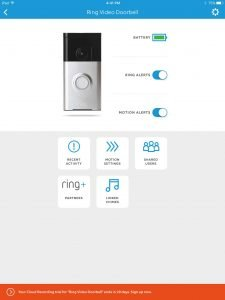 Ring Doorbell Menu