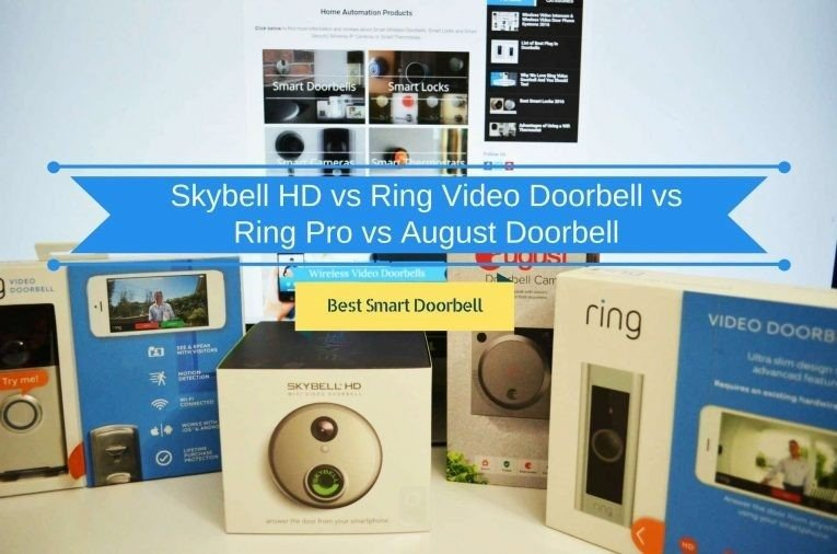 Featured image for article: Skybell HD vs Ring Video Doorbell vs Ring Pro vs August Doorbell Cam
